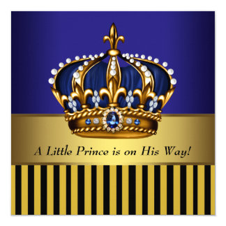 Royal Navy Blue Black Gold Prince Baby Boy Shower Card
