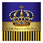 "Royal Navy Blue Black Gold Prince Baby Boy Shower 5.25"" Square Invitation Card"