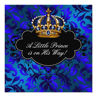Royal Navy Blue Black Prince Baby Boy Shower 5.25x5.25 Square Paper Invitation Card