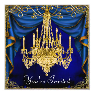Royal Navy Blue Gold Chandelier Party Invitations