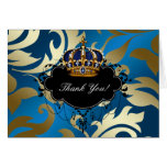 Royal Navy Blue Gold Jewel Crown Thank You Cards