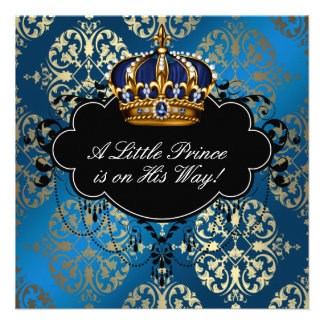 Royal Navy Blue Gold Prince Baby Boy Shower Invitations