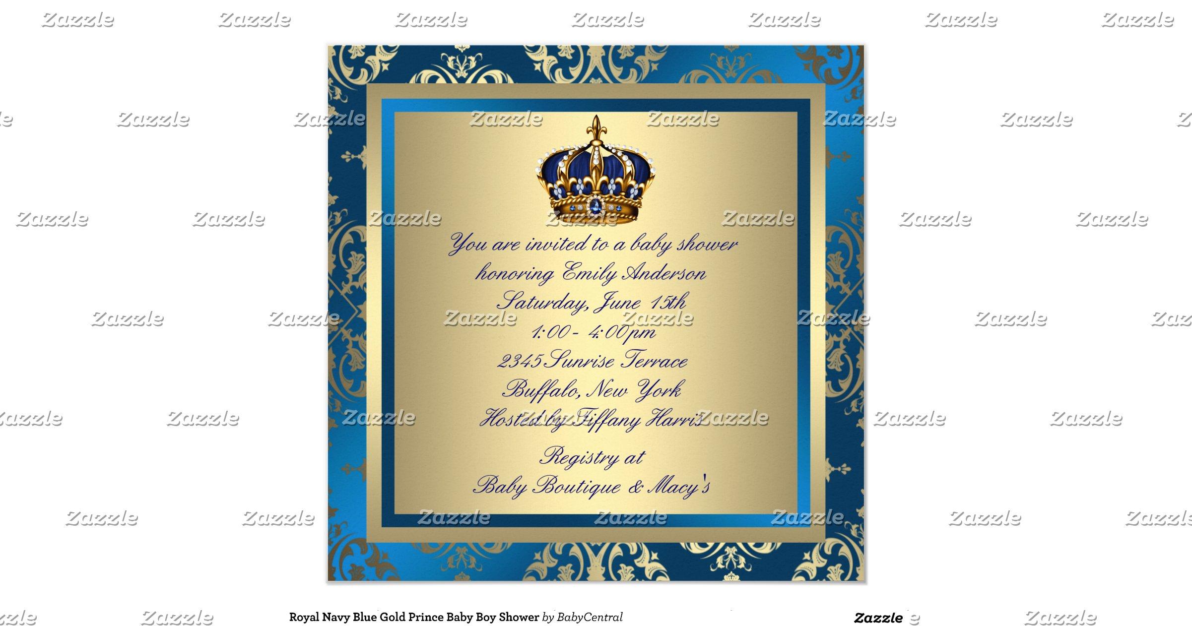 royal navy blue gold prince baby boy shower invitation zazzle