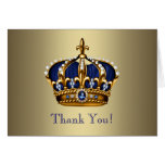 Royal Navy Blue Gold Prince Crown Thank You Cards Note Card