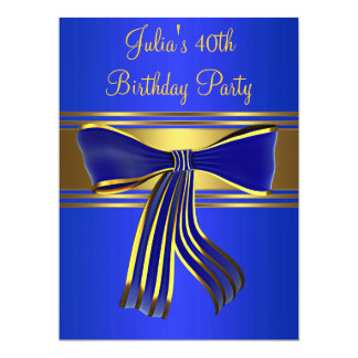 Royal Navy Blue Gold Womans 40th Birthday Party Card