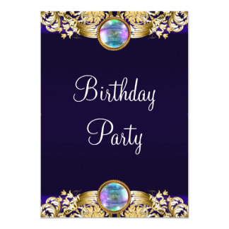 Royal Navy Blue Gold Womans Birthday Party Card