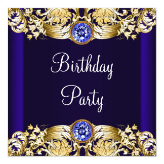 Royal Navy Blue Gold Womans Birthday Party Custom Invites