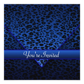 Royal Navy Blue Leopard Party Personalized Announcement