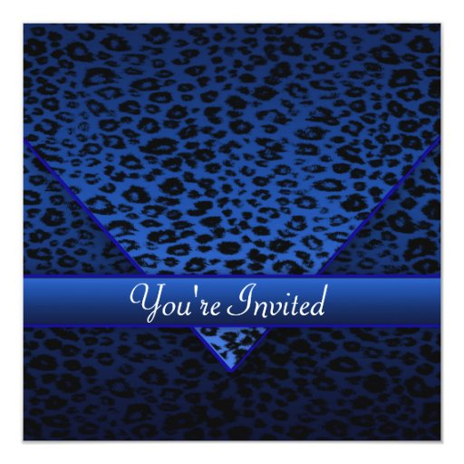 Royal Navy Blue Leopard Party 5.25x5.25 Square Paper Invitation Card