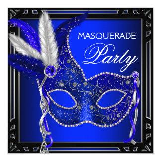 Royal Navy Blue Mask Masquerade Party Card