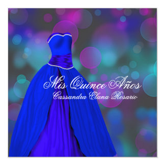 Royal Navy Blue Pink Purple Quinceanera Card