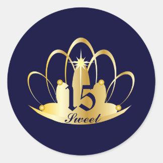 Royal Navy Blue Sweet 15 Tiara Sticker-Customize