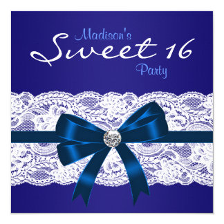 Royal Navy Blue White Lace Blue Sweet 16 Party Personalized Announcements