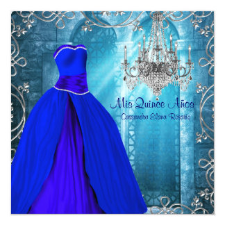 Royal Navy Blue White Quinceanera Personalized Invites