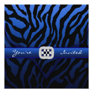 Royal Navy Blue Zebra Party Personalized Announcement