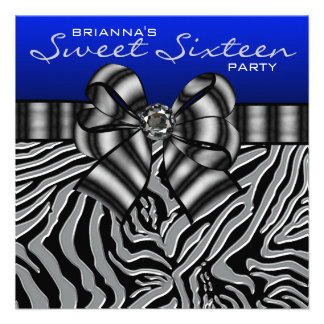 Royal Navy Blue Zebra Sweet 16 Birthday Party Announcements