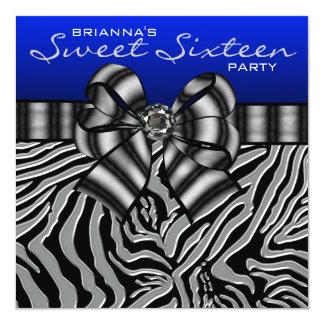 Royal Navy Blue Zebra Sweet 16 Birthday Party 5.25x5.25 Square Paper Invitation Card