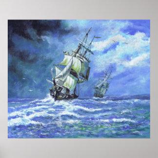 Royal Navy frigates blockading French Coast 1812 Poster