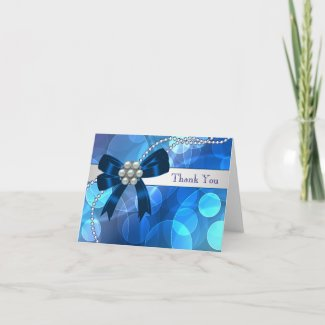 Royal Navy Teal Blue Pearls Bow Thank You Cards card