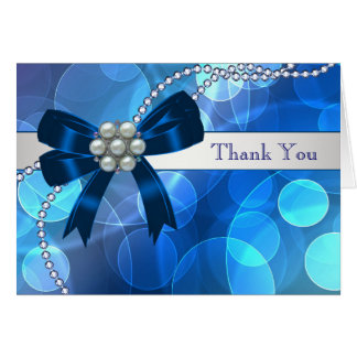 Royal Navy Teal Blue Pearls Bow Thank You Cards
