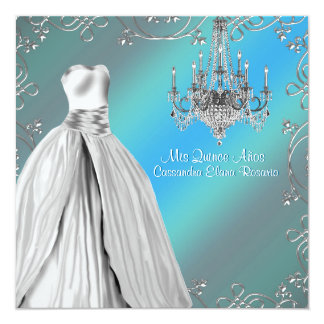 Royal Navy Teal Blue White Quinceanera Card