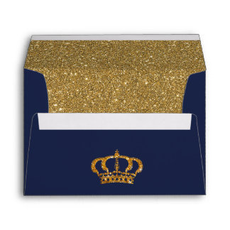 Royal Navy with Crown Blue & Gold Lined Envelope