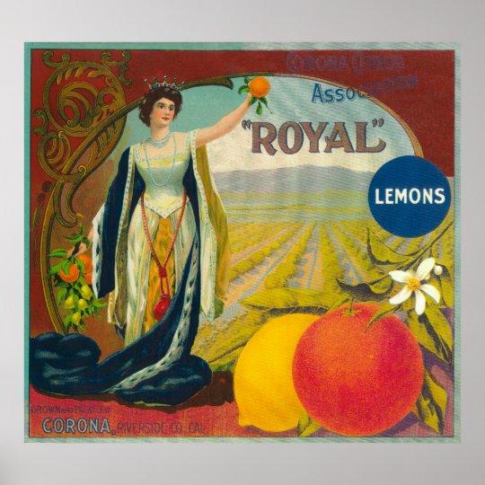 Royal Orange LabelCorona, CA Poster