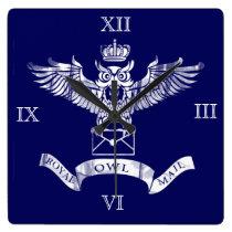 Royal owl post vintage logo square wall clock