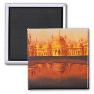 """""""Royal Pavillion"""" Taj Mahal art 2 Inch Square Magnet"""