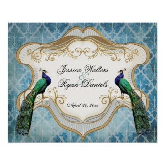 Royal Peacock Blue Personalized Anniversary Poster
