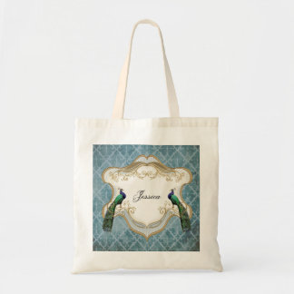 Royal Peacock (Blue) Personalized Tote Bag
