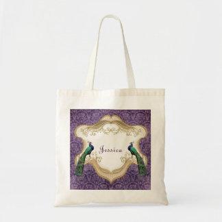 Royal Peacock (Purple) Personalized Tote Bag