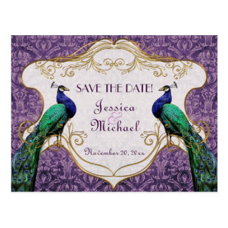 Royal Peacock (Purple) Save the Date Postcard