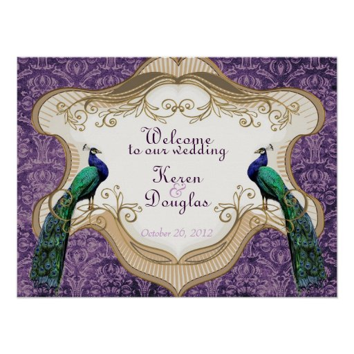 Royal peacock purple wedding anniversary poster zazzle