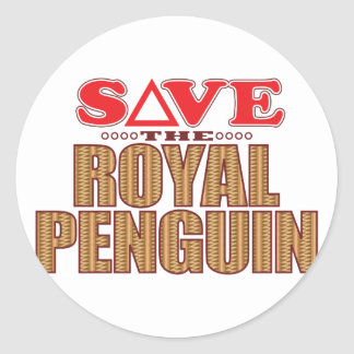 Royal Penguin Save Classic Round Sticker