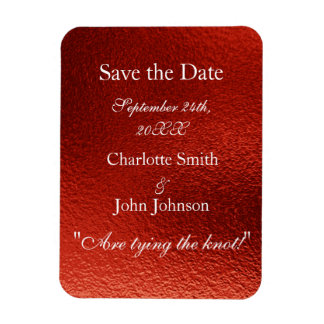 Royal Personalized Red Shiny Save The Date Rectangular Photo Magnet
