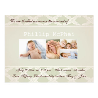 Royal Photo Birth Announcement Post Cards