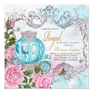 Royal Pink and Teal Blue Princess Birthday Party Card