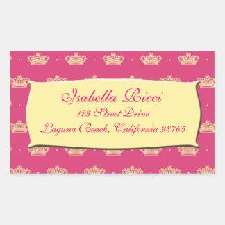 Royal Pink Crown Rectangular Sticker