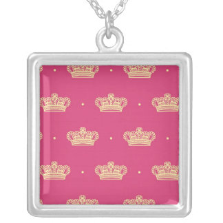 Royal Pink Crown Square Pendant Necklace
