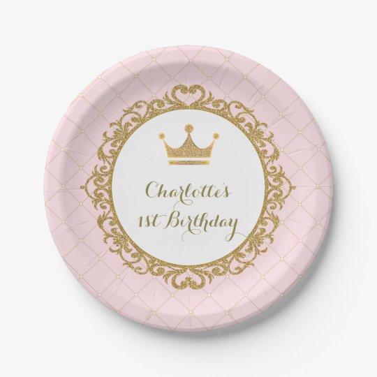 Royal Pink Gold Princess Birthday Party 7 Plate
