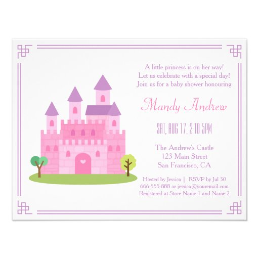 Royal Pink Princess Castle Baby Girl Shower Party Custom Invitations