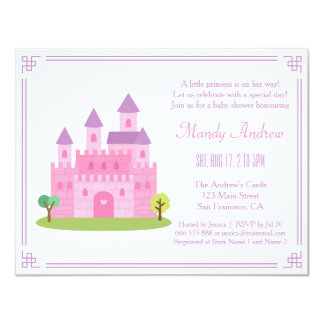 """Royal Pink Princess Castle Baby Girl Shower Party 4.25"""" X 5.5"""" Invitation Card"""