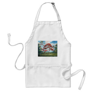 Royal Poinciana and Palm Tree Adult Apron