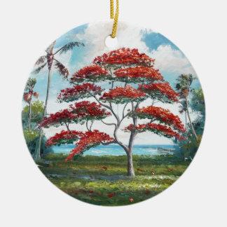 Royal Poinciana and Palm Tree Ceramic Ornament
