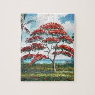 Royal Poinciana and Palm Tree Jigsaw Puzzle