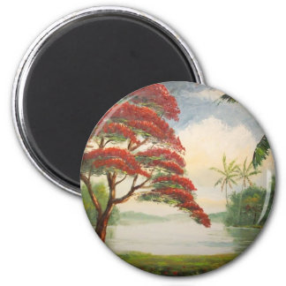 Royal Poinciana ( Flamboyant Tree) 2 Inch Round Magnet