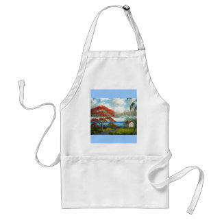 Royal Poinciana & Palm Trees Adult Apron