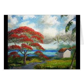 Royal Poinciana & Palm Trees Card