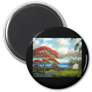 Royal Poinciana & Palm Trees Magnet